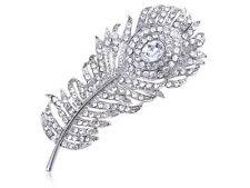 Chic Reproduct Crystal Rhinestone Huge Peacock Feather Pin Brooch