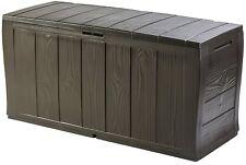 Keter Large Plastic Outdoor Garden Storage Box Wood Effect Container Waterproof
