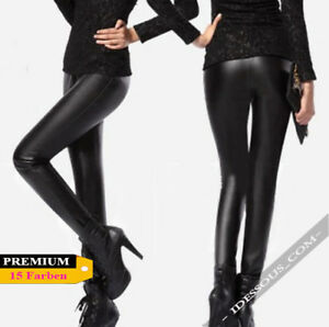 Sexy Leder Optik Leggings Stretch Damen Hose Schwarz Jeggings Leggins  S M L