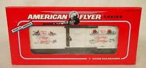 """AMERICAN FLYER #6-48314 """"SEASONS GREETINGS"""" 1992 CHRISTMAS BOX CAR-NIB!"""