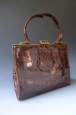 Vintage 1940 S? véritable peau de crocodile cuir verni sac à main