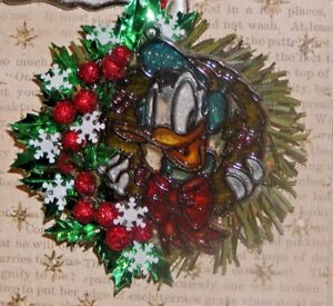 OOAK Dollhouse Miniature Christmas Wreath/Vintage Disney Suncatcher Wreath