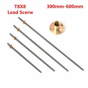T8x8 300-600mm Lead Screw Pitch 2 Lead 8 Stainless Rod Linear Rail Bar Shaft