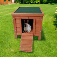 "Lovupet 17"" wooden little rabbit chicken coop small animal house pet cage 0325"