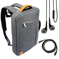 "Gray Backpack Messenger Bag for HP Pavilion 17-f053us 17.3"" Laptop +Earbud+Cable"