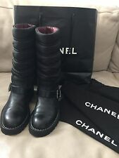 Chanel Quilted Motorcycle Boots EU37 US7 Black Biker