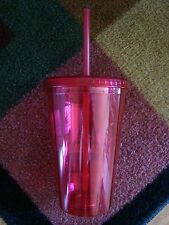Lot Of 4 Travel WATER Iced COFFEE Cup / Mug With Straw 16 oz Pink NEW SEALED