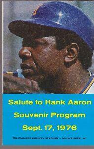10 Hank Aaron Souvenir Program sept 17 1976