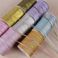 20 Yards Metallic Lurex Glitter Ribbon 3mm wide Gold Silver 3 Metre length Q8