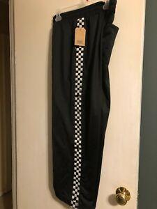 NEW VANS Women's Black White CHECKERBOARD Track Lounge Pants Pant Medium $60