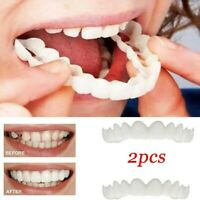 2Pcs Perfect Smile Teeth Veneers Snap On Comfort Fit Flex Upper Lower Cover