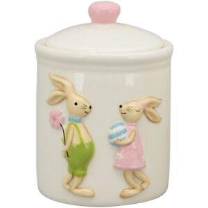 Osterhasen Dose mit rosa/grünen Osterhasen Keramik Osterdeko