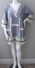 Velzera Boho Crochet Lace Ruffle Empire Waist Tunic Dress Plus 1XL 2XL 3XL New!