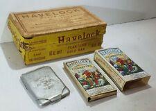 HAVELOCK tobacco ADVERTISING MATCHBOOK HOLDER 2 diff. packs & 16oz PACKAGING BOX