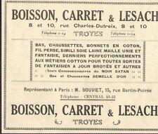 10 TROYES ETS BOISSON CARRET LESACHE BONNETERIE PUBLICITE 1924