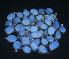 Wholesale Lot !! 50 PCs Opalite Gemstone Silver Plated Necklace Pendant Jewelry