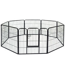 Faulty Pet Pen Dog Cage Crate Play Whelp Metal Run Black 8 Side Tall Large Puppy