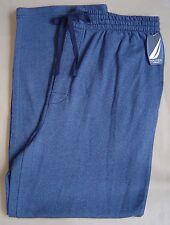 NWT $34 NAUTICA Mens L PAJAMA LOUNGE PANTS Cotton Knit FLANNEL Blue Herringbone