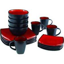 Gibson Home Soho Lounge Square 16-Piece Dinnerware Set Red