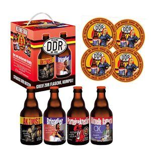 DDR Bierwürfel 4X0,33l mit 4 Sammler Bierdeckel