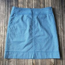 Talbots Skirt Women 6 S Nautical Boat Cotton Stretch Pencil Straight Blue White
