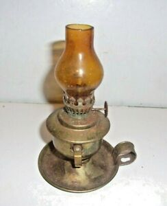 """Vintage MINI- Brass Oil Lamp With AMBER Globe 4 1/2"""" Tall NO CHIPS OR CRACKS #3"""