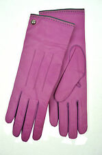 [83 09] COACH NWT WOMENS NEW ROSE PURPLE 82821 GENUINE LEATHER CASHMERE GLOVES 8