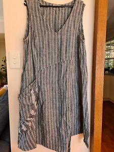 Womens Banana Blue 100% Grey and White Striped Linen Dress Size L