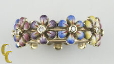 14k Yellow Gold & Hand-Painted Enamel SJS Daisy Diamond Ring Size 6