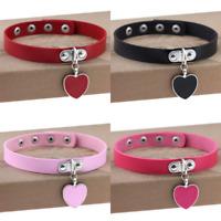 Leather Heart Choker Collar Punk Goth Adjustable Rivet Necklace Love Pendant New