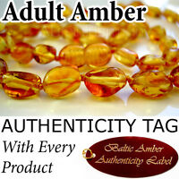 (Oval Beads) Golden Honey Certified Baltic Amber ADULT NECKLACE