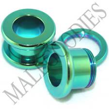 0535 Green Screw-on Tunnels 00 Gauge 00G 10mm Ear Plugs