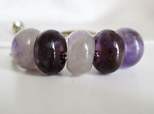 1 x Natural PURPLE AMETHYST Stone Abacus CHARM BEAD For 3mm European BRACELET