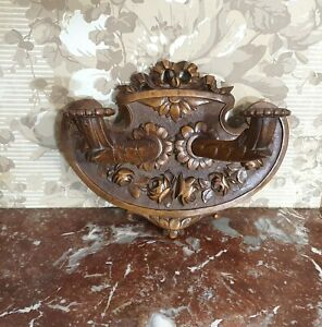 Antique wall sconce Wood carved Wooden architectural salvage