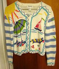 THYME small cardigan sweater 1980s beach scene sun umbrella kitschy sailboat