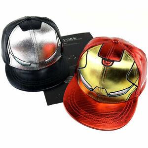 Mens Boys Marvel Iron Man Leather Baseball Cap Retro Snapback Hat Outdoor Sports