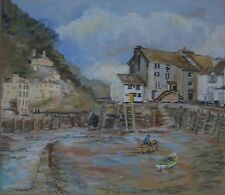 Polperro Cornwall Boats in The Old Port Painting Signed