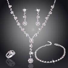 Fashion Silver Crystal Rhinestone Necklace Earrings Set Women Wedding Jewelry