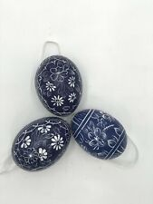 Easter Eggs Dark Blue with Flower/Hand painted