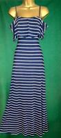 179 MASON 'Medium' UK12-14 Blue White Striped Stretch Jersey Long Maxi Dress
