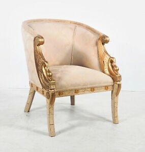 Empire Style Gilt Metal Mounted White Painted & Parcel Gilt Bergere With Swans