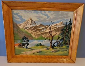 Vintage Mid Century Mountain Landscape Scene Paint By Numbers Painting Framed