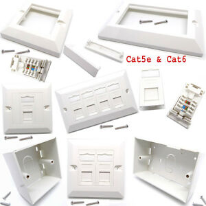 RJ45 Cat5e Cat6 Network 2 /4 Ports Modular Face Plate Back Box Keystone Jack Lot