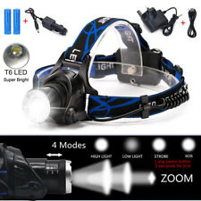 90000LM Zoom Headlamp Rechargeable T6 LED Headlight Flashlights Head Torch Fish