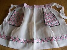 VINTAGE APRON ~ PINK ORGANDY ~ WITH PRINT FABRIC & RIC RAC ACCENTS