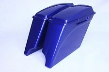 Harley Davidson ABS Extended Stretched Saddle Bags with Lids-Superior blue color