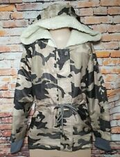 BNWT Girls Size 8 Miss Who Brand Beige Camo Print Sherpa Lined Hooded Coat
