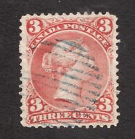 #25  - Canada - 1868  -  3 Cent -  Used  -  VF  - superfleas