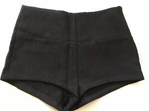 """NEW ZARA Dark Black Structured Shorts Gold Thread Sexy Size S Waist 27"""""""
