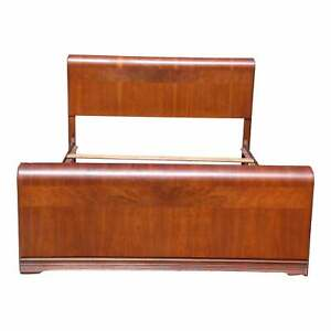 Vintage Art Deco Walnut Waterfall Full Size Double Bed Frame
